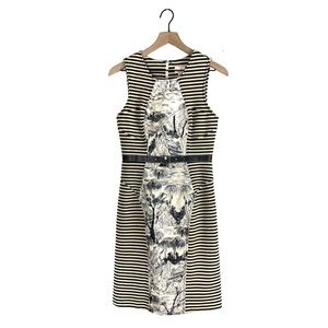 Tracy Reese French Toile Striped Belt Sheath Dress